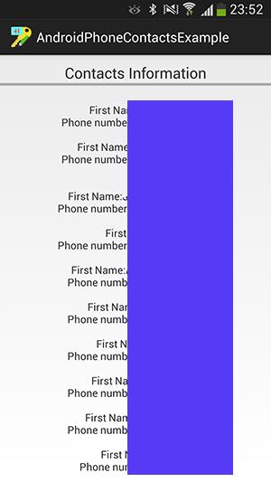 پروژه اندروید : دریافت و نمایش اطلاعات مربوط به لیست شماره های ذخیره شده در گوشی (Contacts)