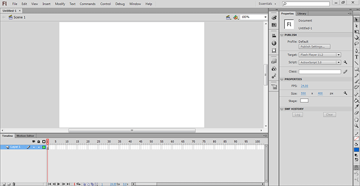 نرم افزار Adobe Flash Professional برای ساخت برنامه ها و انیمیشن های flash
