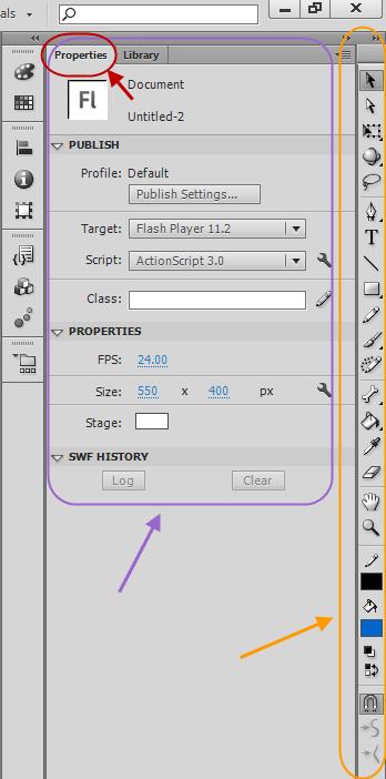 نوار ابزار نرم افزار Adobe Flash Professional برای طراحی راحت تر پروژه های flash