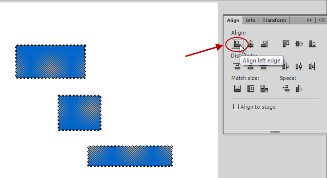 استفاده از قسمت Align برای مرتب کردن عناصر به کار رفته در پروژه flash ، در نرم افزار Adobe Flash Professional