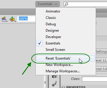 بازگرداندن وضعیت قسمت های (پنجره های) مختلف موجود در پنجره اصلی نرم افزار Adobe Flash Professional به حالت اولیه (Default)