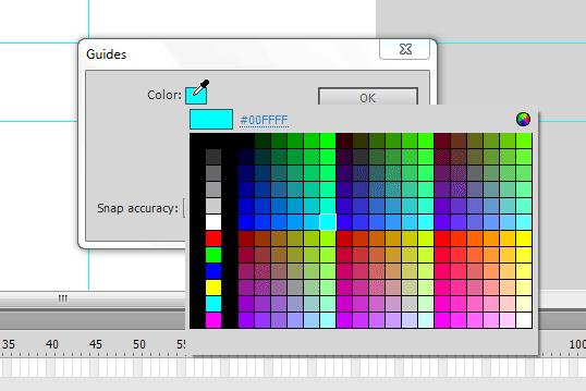 تغییر رنگ خط های راهنما (Guide Line) برای خط کش (Rulers)، در پروژه flash ، در نرم افزار Adobe Flash Professional