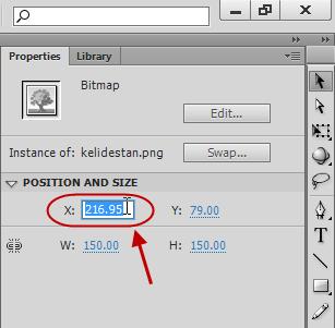 تغییر دادن اندازه و موقعیت یک عنصر دلخواه (مثلا یک عکس)، در پروژه flash ، در نرم افزار Adobe Flash Professional