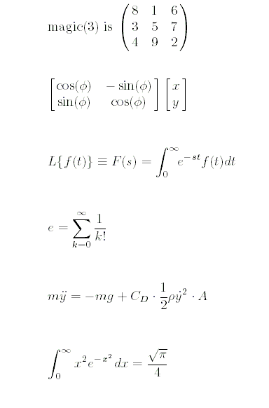 یک مثال برای آشنایی با عبارت LaTeX متناظر با برخی نمادهای رایج در متن ها و فرمول ها، برای استفاده در دستور text و سایر دستورهای مشابه در متلب