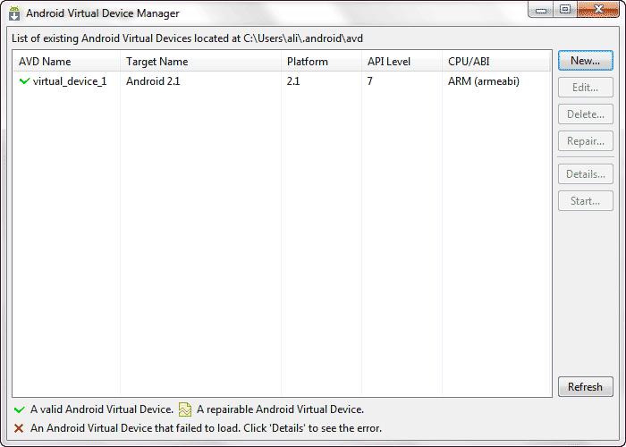 شبیه سازی برنامه های ساخته شده برای اندروید، توسط یک دستگاه مجازی (Virtual Device)