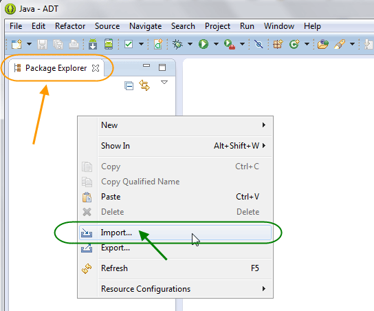 وارد کردن (import) یک پروژه اندروید، به درون برنامه eclipse