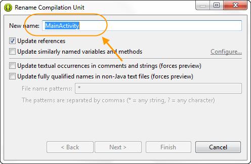 تغییر نام یک activity یا یک فایل xml از پروژه اندروید، در برنامه eclipse و تذکر در مورد عدم نگرانی از تغییر نام این دو نوع فایل