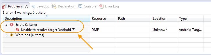 پیدا کردن عبارت خطا در برنامه eclipse ، هنگامی که علامت خطا، تنها در کنار نام پروژه اندروید نمایش داده می شود و فایل مربوط به خطا، مشخص نیست