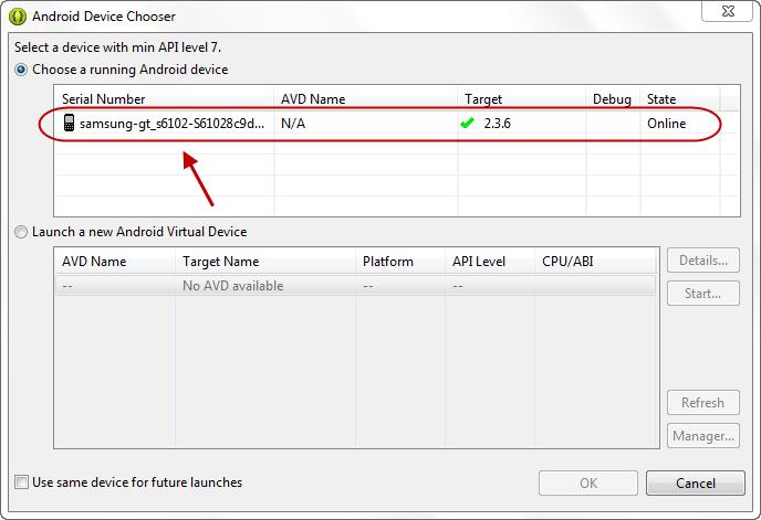 اجرا (run) و یا خطایابی (debug) یک پروژه اندروید موجود در برنامه eclipse ، بر روی یک گوشی اندروید واقعی (از طریق اتصال گوشی به کامپیوتر، با کابل USB)