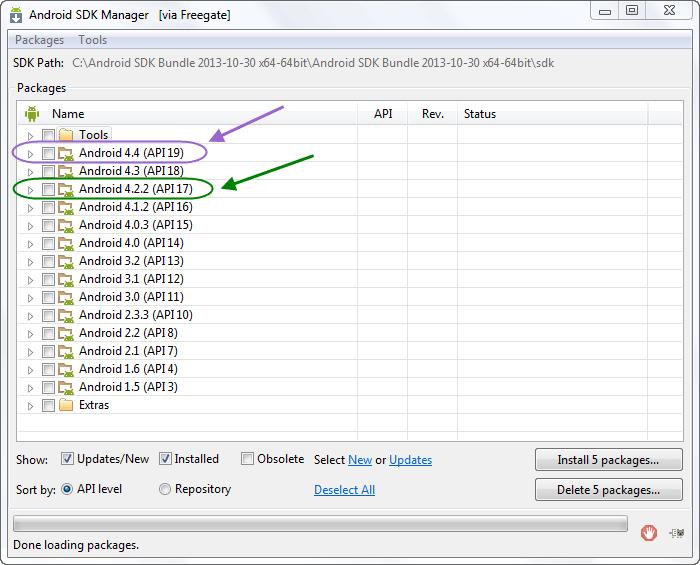 نصب نسخه های مختلف API از اندروید، در برنامه نویسی اندروید