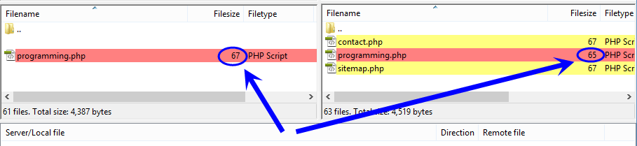 برطرف کردن مشکل نمایش همیشگی وجود تفاوت در اندازه فایل های آپلود شده در هاست، هنگام استفاده از قابلیت مقایسه اندازه فایل ها در کامپیوتر خانگی (localhost) و هاست (host) (فعال بودن گزینه Directory comparison)، در FileZilla