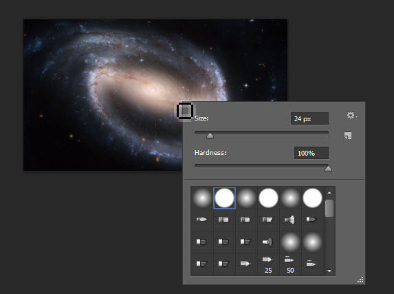 تغییر نوع و اندازه ابزار Brush (قلم مو) در نرم افزار Adobe PhotoShop